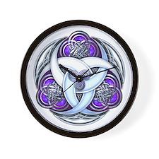 Celtic Triple Crescents - Purple Wall Clock