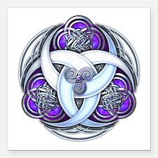 Celtic Triple Crescents - Purple Square Car Magnet