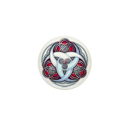 Celtic Triple Crescents - Red Mini Button