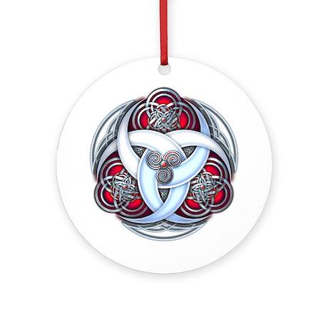 Celtic Triple Crescents - Red Ornament (Round)
