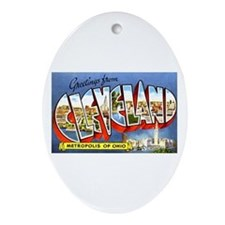 Cleveland Ohio Greetings Ornament (Oval)