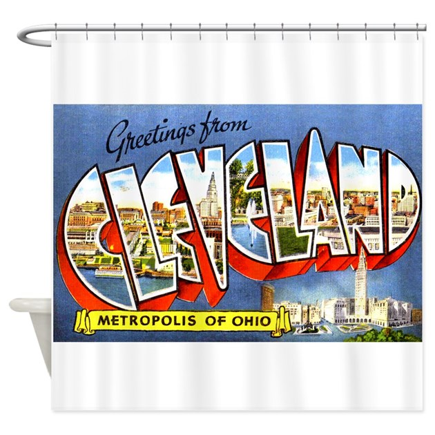 Cleveland Ohio Greetings Shower Curtain By W2arts