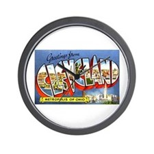 Cleveland Ohio Greetings Wall Clock