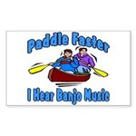 Paddle Faster Canoe Sticker (Rectangle)