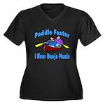 Paddle Faster Canoe Women's Plus Size V-Neck Dark