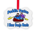 Paddle Faster Canoe Picture Ornament