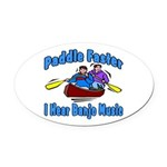 Paddle Faster Canoe Oval Car Magnet