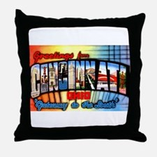 Cincinnati Ohio Greetings Throw Pillow