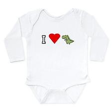 Unique Dinosaur heart Long Sleeve Infant Bodysuit