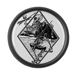 Canoe Skelton t.png Large Wall Clock