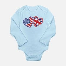 Patriotic Peace Sign and USA Flag Long Sleeve Infa