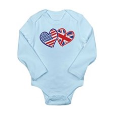 Patriotic Peace Sign and USA Flag Onesie Romper Suit