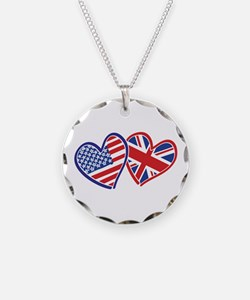Patriotic Peace Sign and USA Flag Necklace