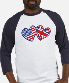 Patriotic Peace Sign and USA Flag Baseball Jersey