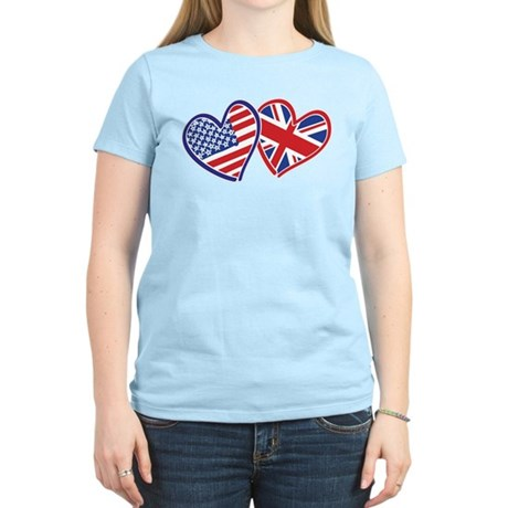 Patriotic Peace Sign and USA Flag Women's Light T-