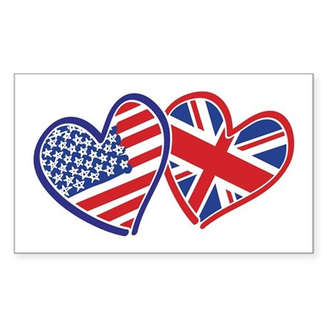 Patriotic Peace Sign and USA Flag Sticker (Rectang