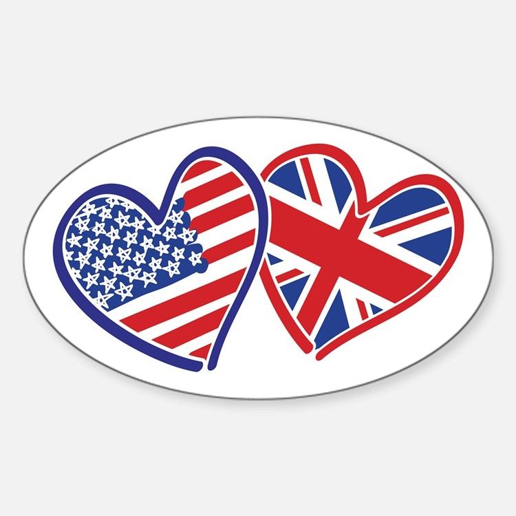 Patriotic Peace Sign and USA Flag Sticker (Oval)