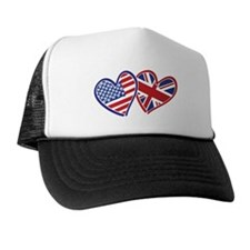 Patriotic Peace Sign and USA Flag Trucker Hat