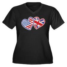 Patriotic Peace Sign and USA Flag Women's Plus Siz