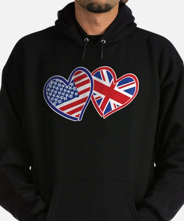 Patriotic Peace Sign and USA Flag Hoodie (dark)