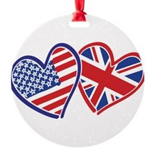 USA and UK Flag Hearts Round Ornament