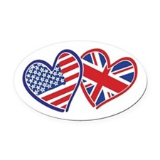 USA and UK Flag Hearts Oval Car Magnet