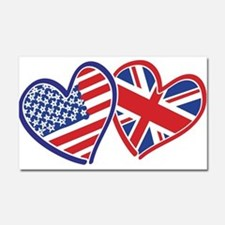 USA and UK Flag Hearts Car Magnet 20 x 12