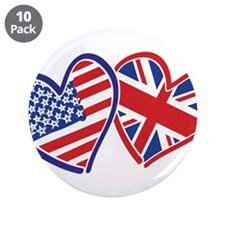 """USA and UK Flag Hearts 3.5"""" Button (10 pack)"""