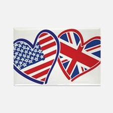 USA and UK Flag Hearts Rectangle Magnet (10 pack)
