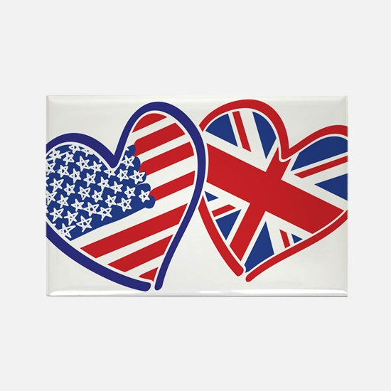 USA and UK Flag Hearts Rectangle Magnet