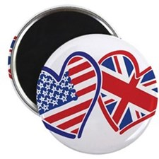 USA and UK Flag Hearts Magnet