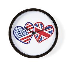 USA and UK Flag Hearts Wall Clock