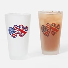 USA and UK Flag Hearts Drinking Glass