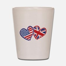 USA and UK Flag Hearts Shot Glass
