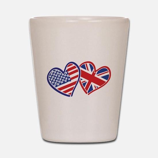 USA and UK Flag Hearts Shot Glass