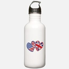 USA and UK Flag Hearts Water Bottle