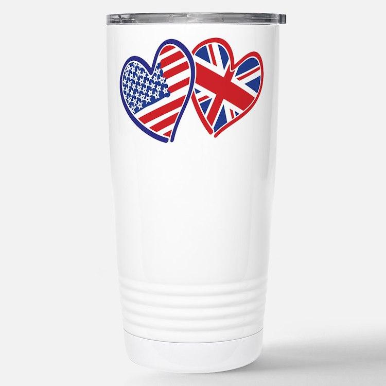 USA and UK Flag Hearts Travel Mug