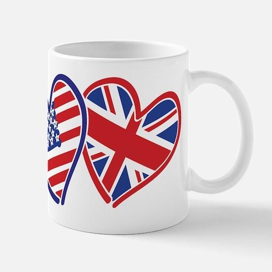 USA and UK Flag Hearts Mug