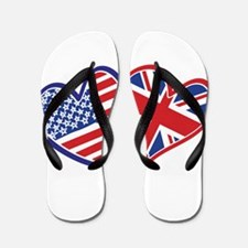 USA and UK Flag Hearts Flip Flops