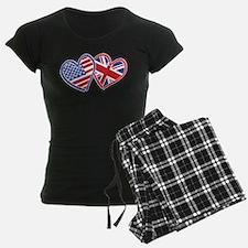 USA and UK Flag Hearts Pajamas