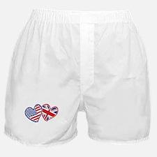 USA and UK Flag Hearts Boxer Shorts