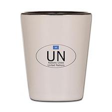 UN National Code Shot Glass