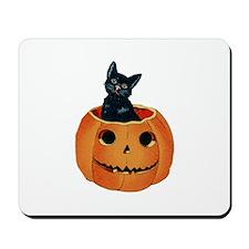 Black Cat in Pumpkin Mousepad
