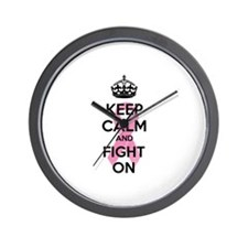 Keep calm and fight on Wall Clock