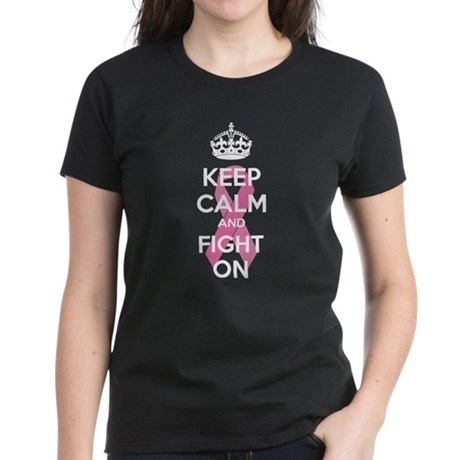 Keep calm and fight on Women's Dark T-Shirt