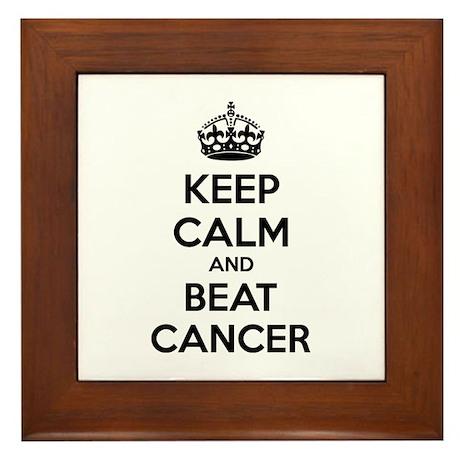 Keep calm and beat cancer Framed Tile