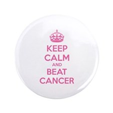 """Keep calm and beat cancer 3.5"""" Button"""