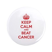 "Keep calm and beat cancer 3.5"" Button (100 pack)"