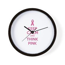 Keep calm and think pink Wall Clock