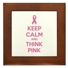 Keep calm and think pink Framed Tile